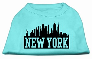 New York Skyline Screen Print Shirt Aqua Sm (10)